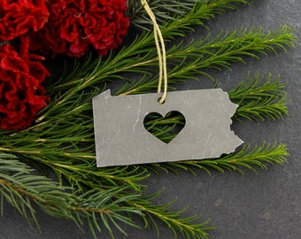 Love Pennsylvania Christmas Ornament State Rustic Aluminum Holiday Gift for Her Him Home spring Decor Wedding  Personalized Iron Maid Art