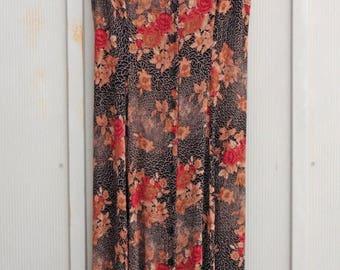 1990s Babydoll Dress - Button Down Dress - Fall Dress - Hipster Indie Dress - Sleeveless Sundress - 90s Grunge Dress - Brown Floral Dress