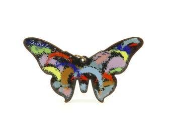 Vintage Enamel Butterfly Pendant, Quebec, Double Sided, Signed Aurile Gagnon