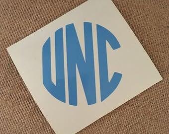 UNC vinyl decal in Carolina Blue