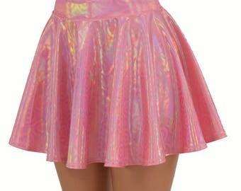 On Point Pink Circle Cut Mini Skirt Rave Metallic Holographic Clubwear EDM  -154745