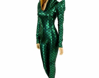 Mardi Gras Green Dragon Sharp Shoulder Long Sleeve Catsuit with Fuchsia Dragon Spikes & Gold Sparkly Jewel Hood Liner - 154865