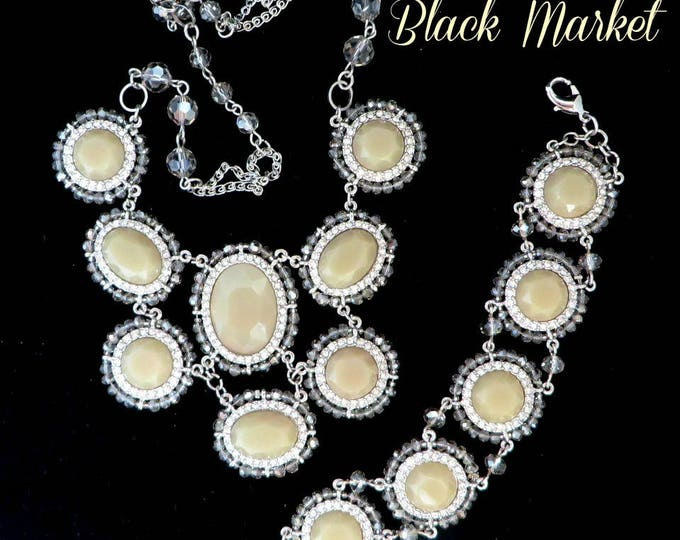 Cream Bead Necklace Set - White House Black Market Necklace, Bracelet, Glass & Rhinestone Demi Parure