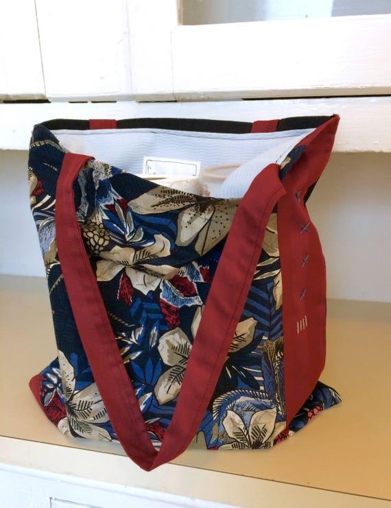Deluxe Produce Bag, Burgundy Hibiscus