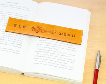 Flying Gift For Him, Plane Bookmark, Fly High Bookmarker, Hand Carved Leather Bookmark, Plane Gift For Pilots, Aviation Gift For Dad, TMY83