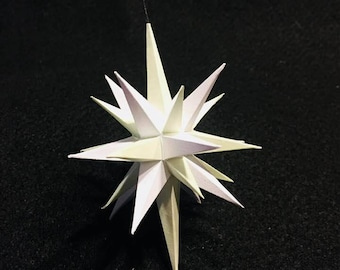 Four inch handmade paper Light Green and White Moravian Star (Bethlehem Star) used as decoration, ornaments or art.