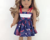 18T Holiday Wear - Fourth of July Sundress and Sandals for American Girl like Lea, Grace, Isabelle, McKenna, Saige, Rebecca, Kit and Julie