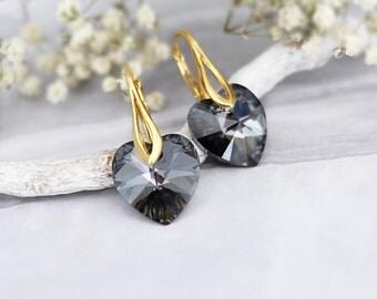 Heart earrings, Swarovski earrings, Small dainty earrings, Delicate crystal earrings, Everyday Sterling Silver earrings, Black gold earrings