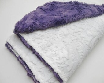 White Paisley & Purple Minky Baby Blanket - Made to Order