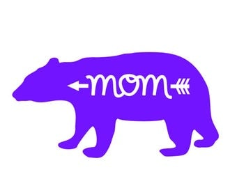 "FREE SHIPPING //  8x4.1"" Mom- Arrow - Bear Vinyl Decal - Car Decal - Water Bottle Decal - Mommy - Woodsy - Wild - Hunting - Wood - Woodland"