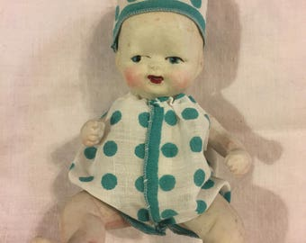 "Antique wee bisque baby doll 6"" tall"