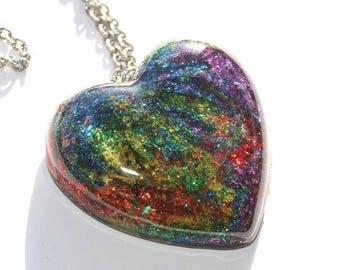 Rainbow Heart Pendant Tie Dye Swirl Jewelry Hippie Necklace Glitter Resin Gift for Gay Pride Festival Month