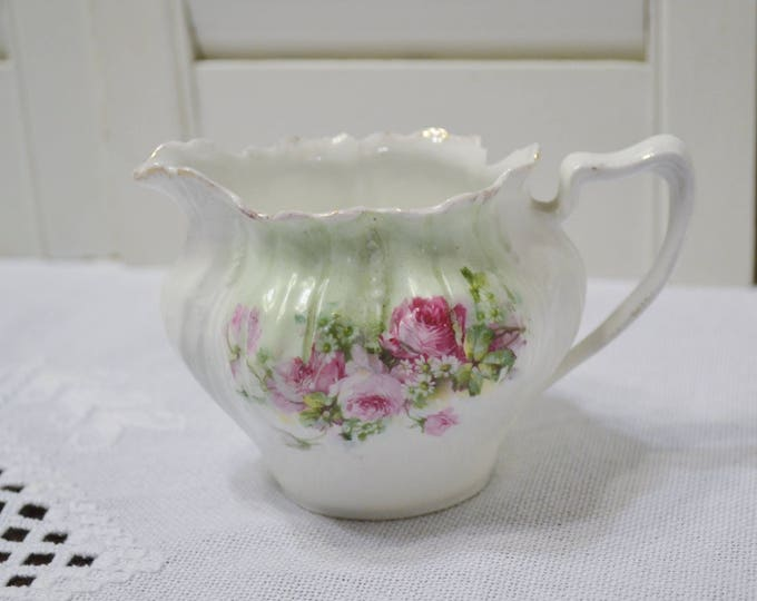 Vintage Creamer Pink Rose Floral Ruffled Rim Bone China Tea Party Wedding PanchosPorch