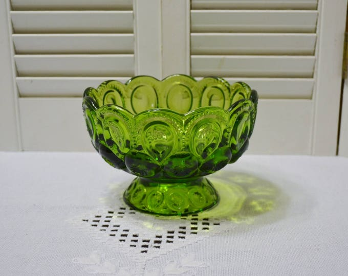 Vintage Green Glass Moon and Stars Footed Bowl Candy Dish Emerald Green LE Smith Collectible Glassware PanchosPorch