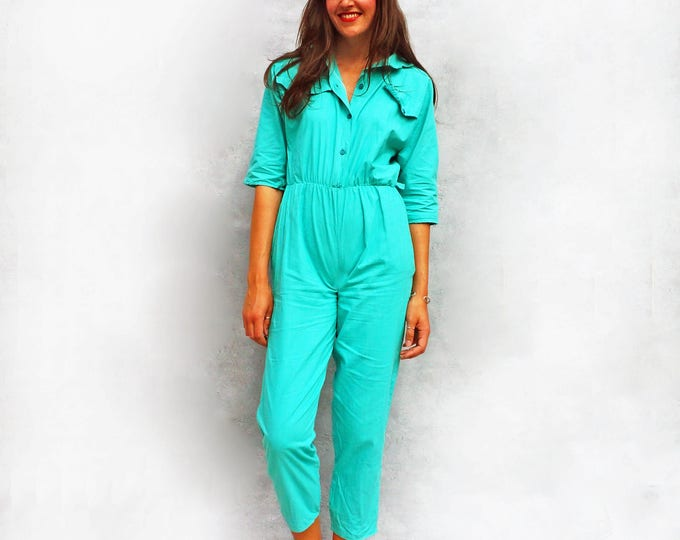 Vintage 80s Jumpsuit, Cotton Jumpsuit, Blue Jumpsuit, All In One, 1980s Jumpsuit, Summer Jumpsuit, Womens Romper, Playsuit, 80s Pantsuit