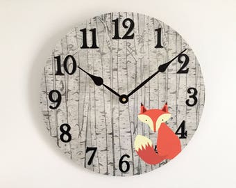 Fox Wall Clock - Woodland Nursery Wall Decor - Rustic Nursery or Baby's Room Decor - Unique Wall Clock - Baby Shower Gift