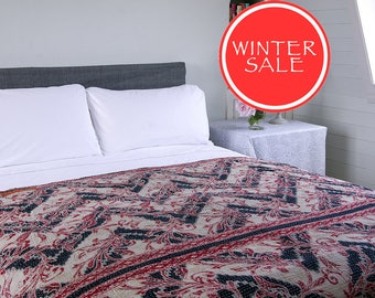 WINTER SALE - KANTHA Throw - Black, beige and red design. Reverse rust and orange - Unique, one of a kind.