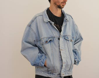 Light Wash Denim Oversized Jacket Mens Medium