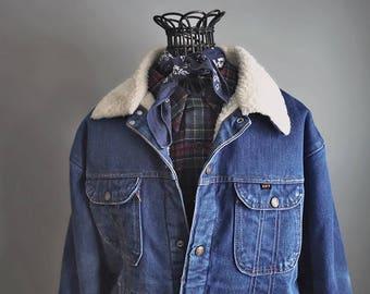 Vintage Key Imperial Sherpa Lined Denim Jean Jacket - Rugged Outer Wear - Distressed Worn In - Men's Medium Large - Women's XL XXL
