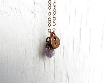 Amethyst Necklace Electroformed Necklace Zodiac February Birthstone Intitial Pendant Copper Necklace Personalized Jewelry Birthday Gift