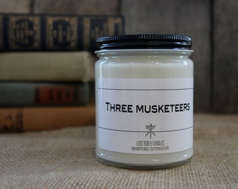 Three Musketeers - Book Inspired Scented Soy Candles -  8oz glass jar
