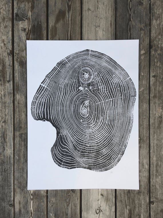 Mulberry Tree ring Print, Original woodblock, art for the office, Geometry in Nature, Tree Stump, fathers day idea, gift idea, dad gift