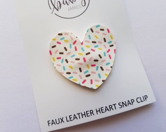 Heart Snap Clip- Single Hair Clip- Sprinkles Faux Leather