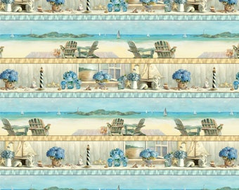 Beach Scene Fabric, Coastal Fabric, Floral Fabric, Border Stripe - Coastal Bliss-  Wilmington Prints - 89173 421- Priced by the 1/2 yard