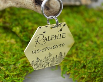 Hand Stamped Pet ID Tag - LARGE • Personalized Pet/Dog Tag • Dog Collar Name Tag • Custom Engraved Landscape Dog Tag