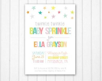 Twinkle Twinkle Baby Sprinkle Invitation, Twinkle Twinkle Sprinkle Invite, Star Baby Shower, Printable Baby Shower Invitation