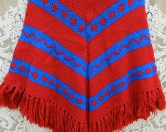 Vintage zippered poncho with fringe