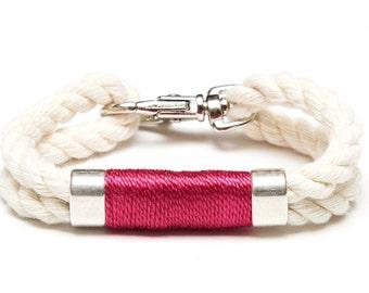 Nautical Rope Bracelet / Ivory Rope Bracelet / Silver Nautical Bracelet / Nautical Jewelry / Nautical Gift / Pink Rope Bracelet