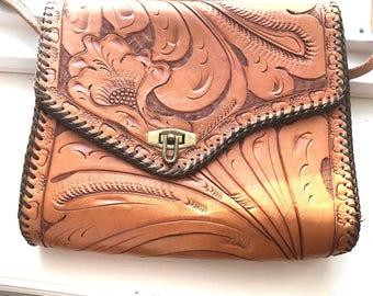 Vintage Hand Tooled Leather Handbag