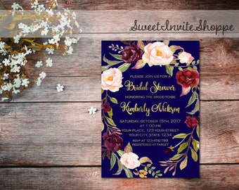Navy And Gold Bridal Shower Invitation, Marsala Wreath Invitation, Boho Floral Bridal Shower Invitation, Marsala Floral Bridal Invitations