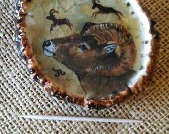 "Ram Belt Buckle 3-1/4"" wide original Bighorn with pictographs oil painting, on genuine and natural brown Elk antler rosette"