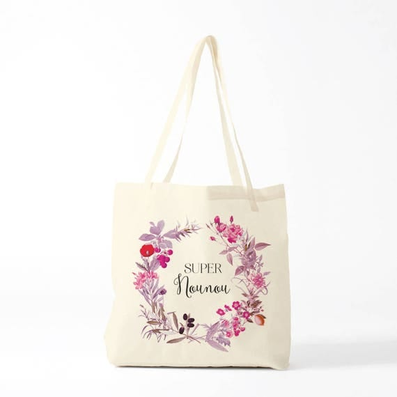 Gift Nanny, tote bag, purple wreath.