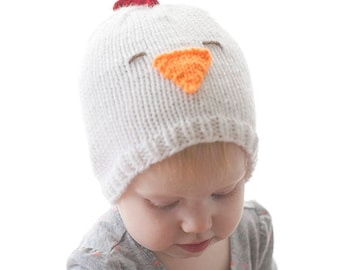 Baby Chicken Hat KNITTING PATTERN / Knitted Chicken / Chicken Pattern / Baby Rooster Hat / Farm Animal Hat / Rooster Pattern /Chicken Beanie