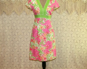 Womens Cotton Dress Elephant Print Short Sleeve Midi Casual Dress Pink Lime Green Lilly Pulitzer XS Small Vintage Clothing Womens Clothing