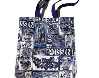 Art Tote bag - dad gift ideas - best grandpa gift - fishing gift - food artwork - kitchen artwork idea - teacher tote bag - linocut print