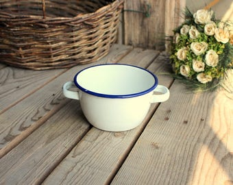 White Enamel Bowl - French Enamelware - Handled Bowl - Vintage White Bowl - Metal Enameled Bowl - Blue Rim Bowl - French Enamelware