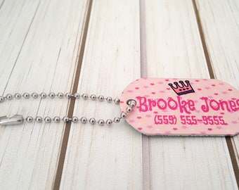 Girl's Mini Princess Bag Tag | Lunch Box Tag | Backpack Tag |  Zipper Pull | With Custom Info on the Back