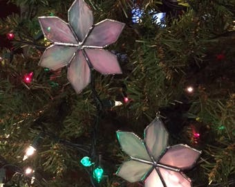 Hand-Crafted, Stained Glass Abstract Snowflake Ornaments by Krista