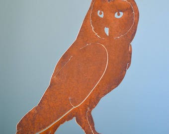 rusty metal barn owl garden decor rusty owl gift rusty metal bird garden art - Orange Garden Decor