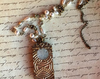 Snowflake Quartz White Stamped Brass Necklace and Earring set Victorian Edwardian Downton Abbey Filigree Steampunk Industrial Door
