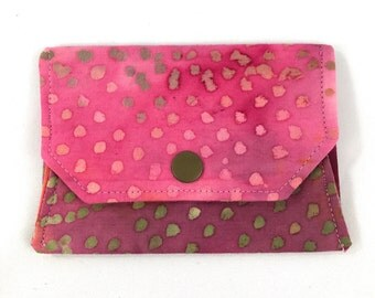 Pink Batik snap wallet // notions pouch // slim pouch // slim wallet // coin purse // gift card holder // pill box // origami wallet