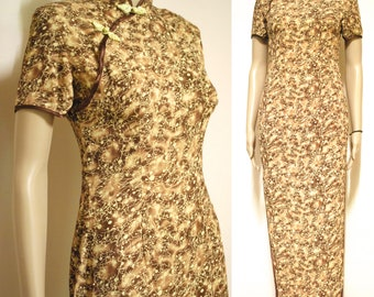 Vintage 90s Dress Oriental Cheongsam Long Length Boho Grunge Nineties 1990s Vtg Size XS