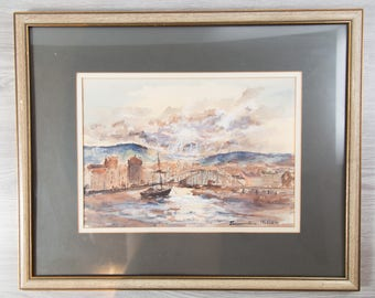 Framed Watercolor Painting / Michele Tramontana Signed Artwork / Nautical European Scene with Sailboat /