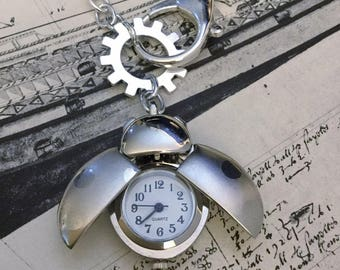 Ladybug Pocket Watch Necklace Steampunk Jewelry WATCH REALLY WORKS! Great Gift for Daughter or Friend Insect Nature Lover Silver Jewelry