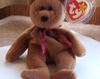 SPECIAL OFFER! ~ Vintage Adorable Ty Bear Beanie Baby ~ Teddy Style 4050 ~ Error on Swing and Tush Tag