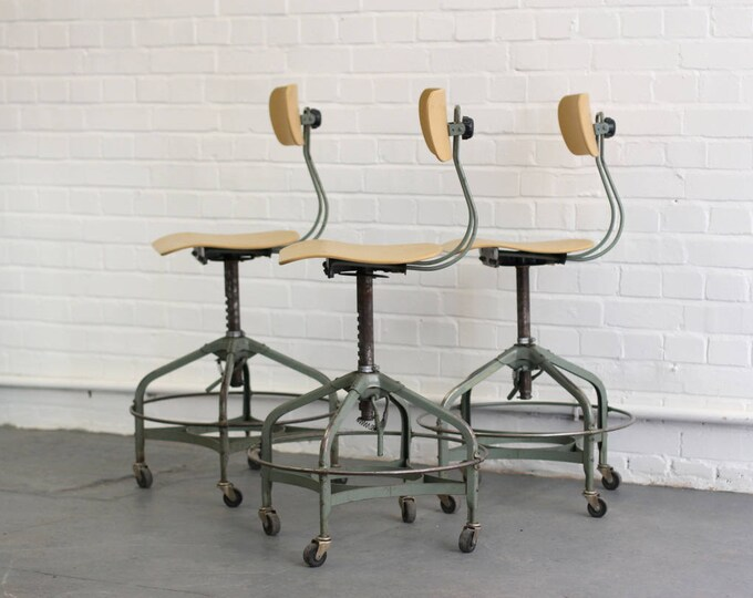 Mid Century Textile Mill Chairs By Toledo Circa 1950s